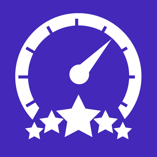 An illustrator image of a speedometer with a five-star rating
